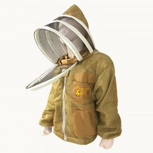 Khaki Ultra Breeze ventilated Beekeeping Jacket with Fencing Veil Face zipper