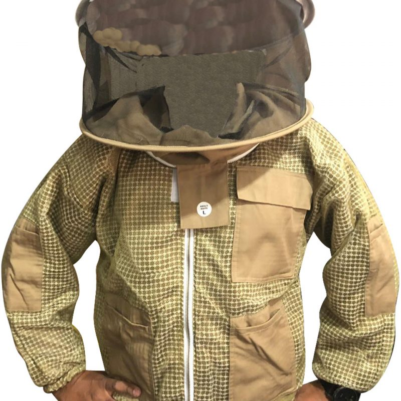 Khaki Ultra Breeze ventilated Beekeeping Jacket with Round Veil
