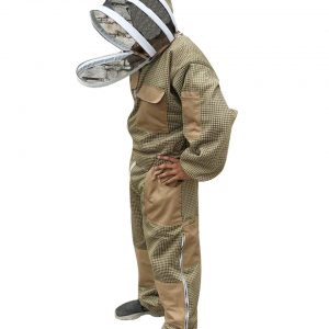 Khaki 3-layer Ultra Breeze ventilated Beekeeping Suit with Fencing Veil Face Zipper