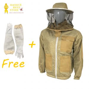 Khaki ventilated Beekeeping Jacket with Round Veil